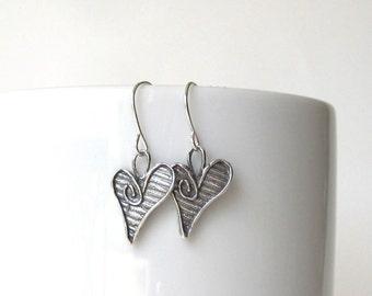Sterling Silver Heart Earrings,Silver Dangle Earrings,Small Drop Earrings,Gift for Her,Bridesmaid Gift,Minimalist Earrings,Everyday Earrings