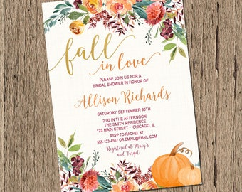 fall bridal shower invitation pumpkin bridal shower invitation fall wedding shower watercolor flowers fall in love bridal shower printable