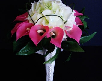 Calla Lily Bouquet, Pink and White, Wedding Posy