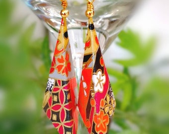 Origami Jewelry - Paper Earrings - Paper Jewelry - Origami Earrings-Dange & Drop Earrings-Japanese paper-Gifts for Her
