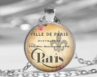 Paris France Vintage Inspired Glass Photo Pendant Necklace or Key Chain France Paris French Eiffel Tower Fleur De Lis Travel Jewelry