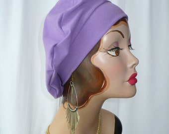 Lilac Cotton Jersey Beret, Chemo Hat