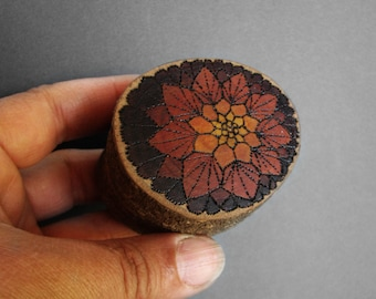 Doily Pomegranate - Monarch Rustic Natural Wooden Magnolia Ring or Trinket Box by Tanja Sova