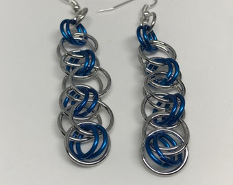 Sale 25% off Blue and Silver Helm Chain Chainmaille Dangle Earrings