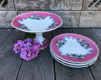 Antique Victorian Porcelain Pedestal Cake Stand Compote Dessert Plate Set 1800s Civil War Era Pink White Roses Bridal Shower Baby Shower