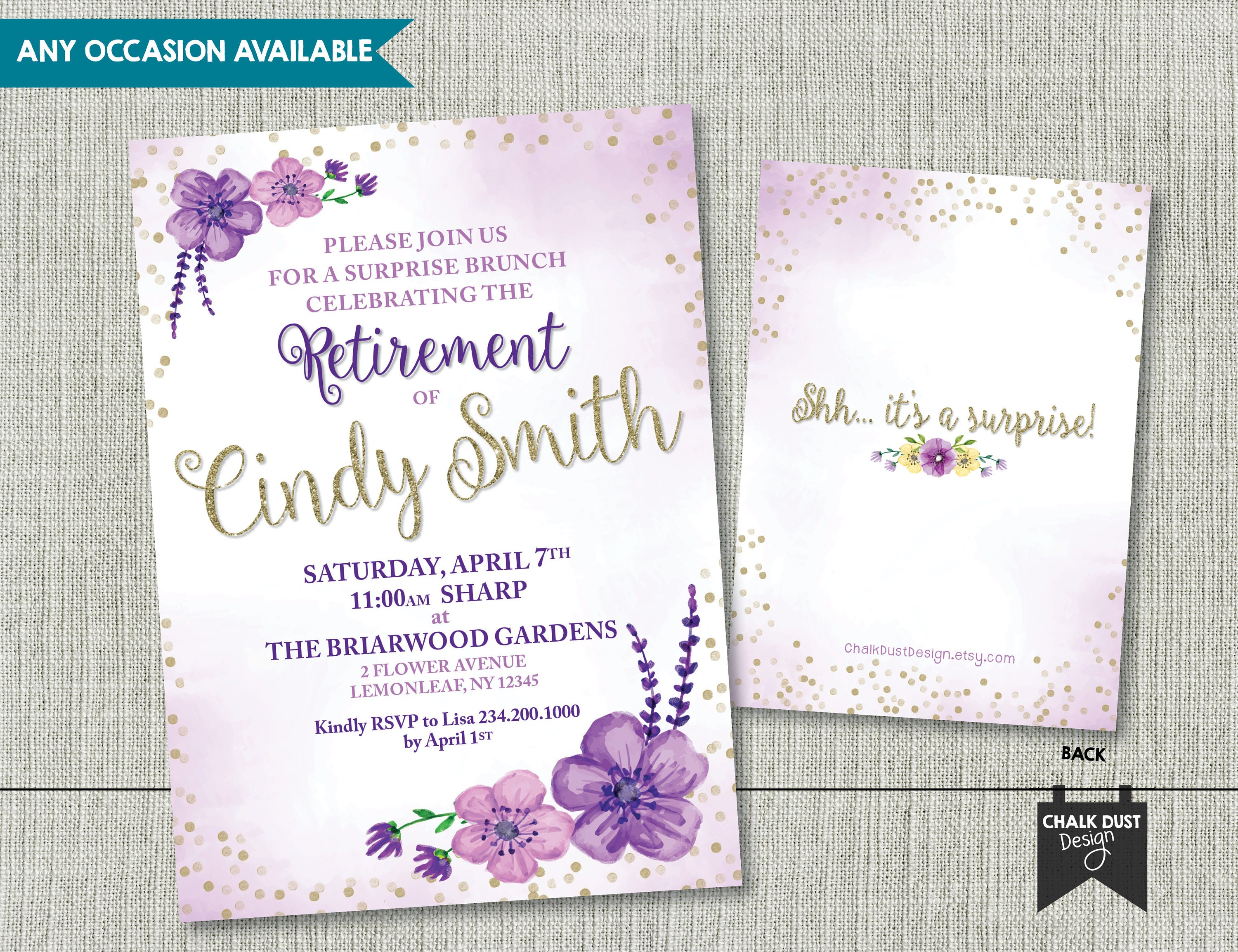Custom watercolor floral design invitations. Any occasion and