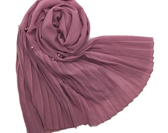 Premium Chiffon scarf with One Sided Pleated border and Pearls - Lilac