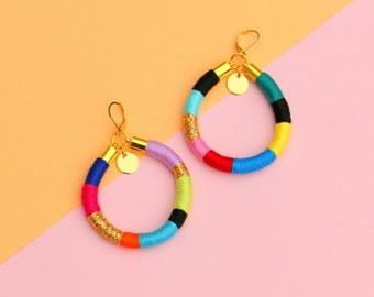 Colorful Statement Hoop Earrings For Women, Textile Rope Earrings For Her