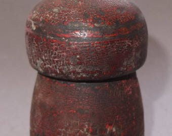 Old Wooden Used Red Box for Ritual Color Tika from Nepal, Hindu Offering Tribal Folk Art, FREE SHIPPING