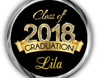 Class of 2018 Graduation Hershey Kisses Stickers - Personalized Graduation Stickers