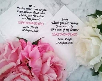 Wedding Handkerchief;personalised hanky;Embroidered handkerchief;wedding gift;personalised hanky; mother of bride gift; father of bride gift