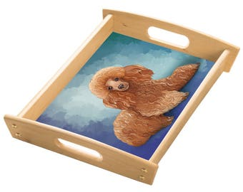 Poodle Dog Wood Serving Tray with Handles Natural
