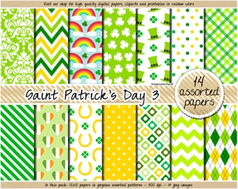 SALE St Patricks digital paper Shamrock scrapbook paper St Patrick pattern Irish Flag Clover Horseshoe Rainbow clipart in yellow green