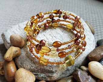 Boho bohemian style memory wire beaded bangle bracelet easy to put on brown tan earthy mother's day
