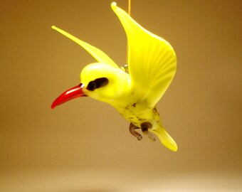 Handmade Blown Glass Art Figurine Hanging YELLOW Bird Ornament