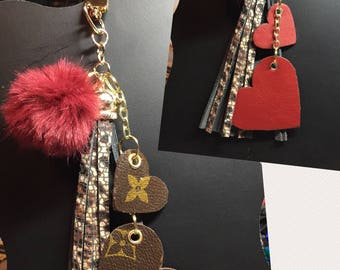 Medium Leopard/Cheetah Print Tassel with Louis Vuitton Accent Hearts