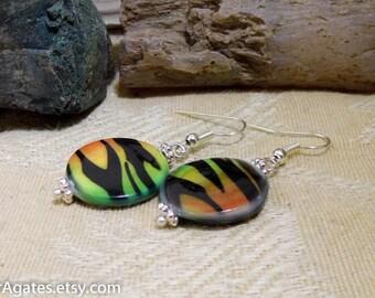 Orange Green Animal Print Mother Of Pearl Shell Silver Dangle Earrings