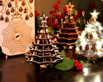 Mini Christmas Tree Kit. Wooden desktop tree made from a single punch card. 3D puzzle for the home or office. Decoration contest, too!