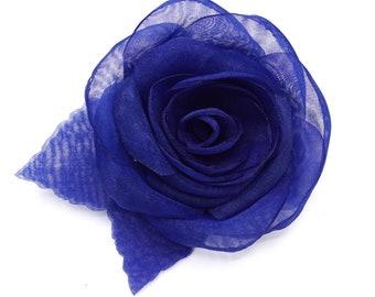 Organza flower brooch, Navy Blue.