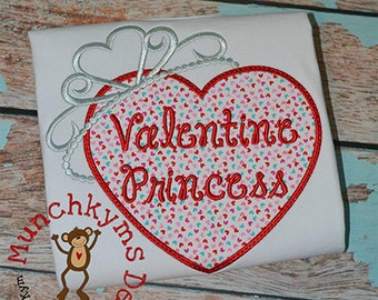 Personalized Valentine's Day Heart with Princess Crown Applique Shirt or Bodysuit Girl or Boy
