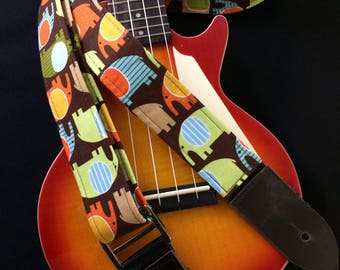Ukulele strap, mandolin strap or child guitar strap // cute elephants on a brown background // unique elephant gift for girl guitarist tween
