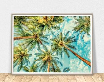 Palm Trees Wall Art   Tropical Decor, Palm Printable Art, Tropical Tree  Print,