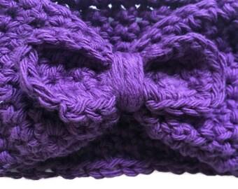 Purple Bow Crochet Ear Warmer | Crochet Headband | Ear Warmer | Crochet | Crochet Earwarmer | Ear Warmer Headband | Winter Ear Warmer