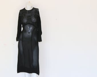 40's Sheer Black Evening Dress with Hand Beading