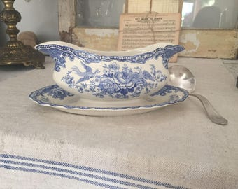 Vintage Bristol Crown Ducal//English Vintage Gravy Boat with Attached Saucer// Porcelain// White and Blue //Antique//Enamel Transferware