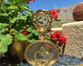 Rare Jeweled Large Filigree Gold tone with Rare Dabber