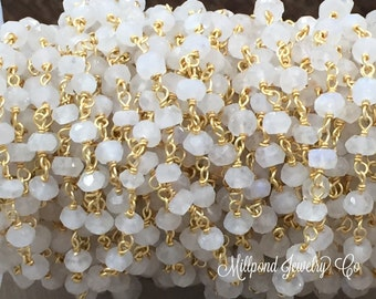 Moonstone Wire Wrapped Rosary Chain, Beaded Chain, Rosary Chain, Chain by The Foot, Gold Plated, Tiny 2-4 mm Gemstones, 1 Foot, BC2510