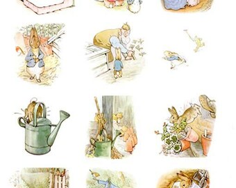 Complete Beatrix Potter's The Tale of PETER RABBIT Illustrations - instant digital download 3 jpeg file (2-2.25 inch or 5.7cm illustrations)