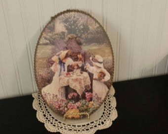 Vintage Oval Tea Party WALL HANGING, Girl's Room Decor, Vintage Oval Picture, Chain Framed Wall Decor, Victorian Style Decor, Cottage Decor