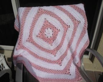 Crochet pink and white baby girl blanket