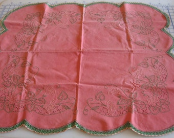 Vintage embroidered table topper