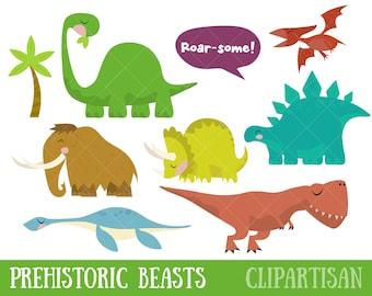 Dinosaur Clipart / Prehistoric Animals / Tyrannosaurus / Diplodocus / Triceratops / Pterodactyl / Stegosaurus / Mammoth / Jurrasic