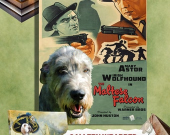 Irish Wolfhound Art, Wolfhound Canvas Print, Wolfhound Portrait, Sticker Decal, Custom Dog Portrait - The Maltese Falcon Movie Poster