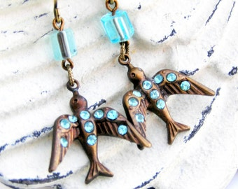 Bird Earrings, Blue Crystal Bird, Swallow Earrings, Vintage Style