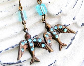 Bird Earrings, Blue Crystal Bird, Swallow Earrings, Vintage Style