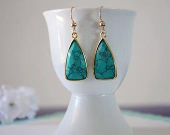Turquoise Gold Earrings, Green Earrings, Small, Triangle Drop Gemstone