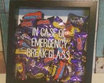 Chocolate Lovers Frame, In Case Of Emergency Break Glass, Chocoholic Lovers Frame, Christmas Gift, Funny Gift Idea,