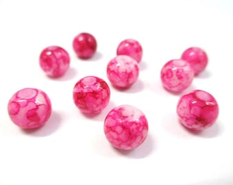 10 pearls, pink Glass 8mm (N-33)