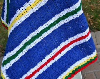 Crochet baby  Blanket  - Baby Blanket - primary colors