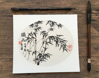 Original Chinese Ink and Wash Painting-  Zen Bamboo, 竹子, 25x27cm, Chinese Painting, Wall Art, Home Decor, Great Gift!