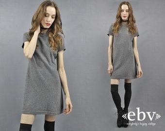 90s Mini Dress Grey Dress Gray Dress 90s Furry Dress 1990s Dress 90s Dress 90s Grunge Dress 90s Party Dress Fuzzy Dress 90s Club Dress S M