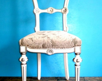 Beautiful antique chair in the art nouveau style in white and silver, newly refurbished, unused