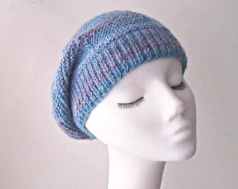 Blue slouchy hat, blue beanie hat, slouchy beanie, Winter hat, Winter accessories, multicolour hat, slouchie hat, cosy hat, uk hats
