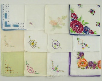 Vintage Hanky Lot,Vintage Lot of Handkerchiefs,One Dozen Assorted Vintage Hankies (Lot #H14)