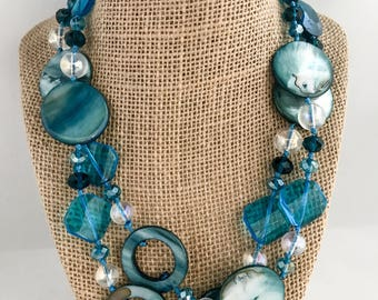 Blue beaded necklace, blue necklace, necklace blue, blue long necklace, beaded necklace, blue shell necklace