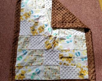 I Love Grandma Teddy Bear Neutral Minky Baby Blanket